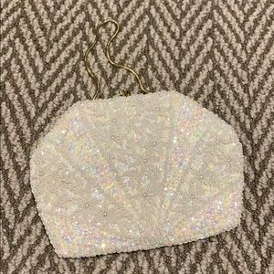 Vintage look white beaded and sequined evening bag